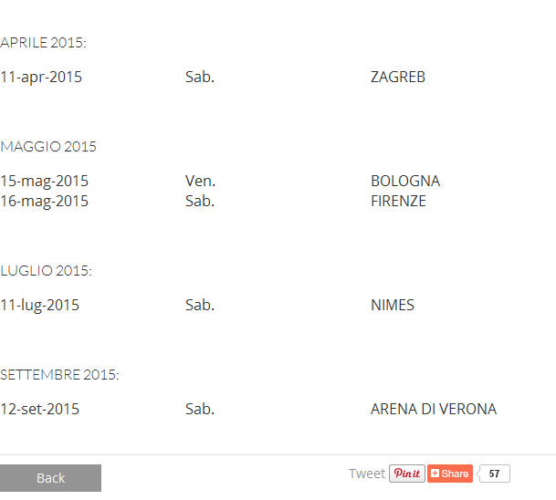 Morricone concerts schedule from February to September 2015(From new official website of Ennio Morricone)