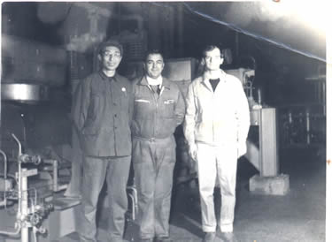1980 year.(43 years old) After the turbine compressor to replace a new rotor compensatived hy French corp., joint photo with French experts in the night.