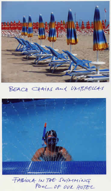Above, Beach chairs and umbrellas; Below Fabiola in the swimming pool of our hotel