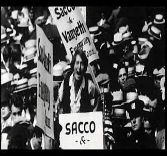 Protecting wave for Sacco and Vanzetti trial 1n 1920s in the world