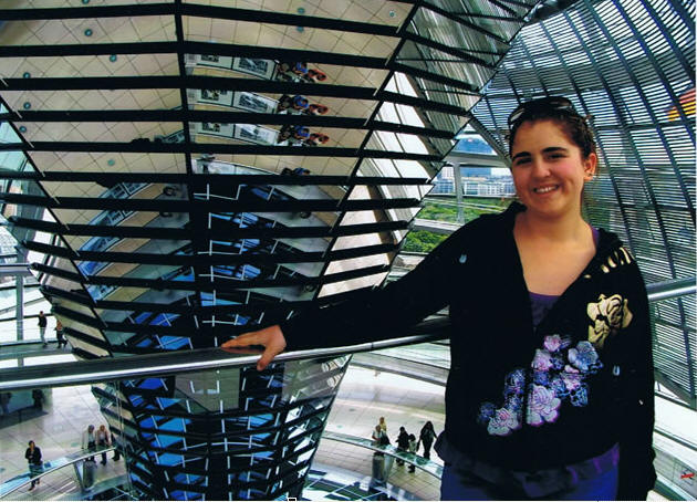Fabiola in the glass dome of the Bundestag (assembly hall of the German government)of Berlin in May 2008 (14 years old)