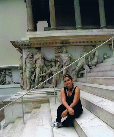 Fabiola visit to a Berlin's historical museum in front of the Pergamon Temple (Greek approx. 3000 years old) in May 2008 (14 years old).