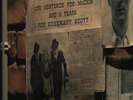 """看到了墙上还贴着十几年前的一张旧报纸,上面大标题是""""麦凯恩被判无期斯科特 罗斯玛丽判18年"""","""