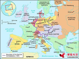 Europe in 1815 (here)