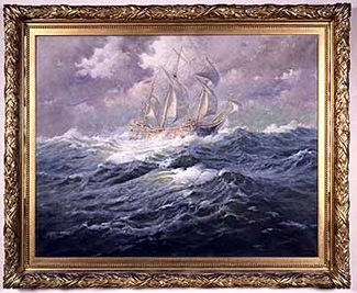 """The Mayflower at Sea"""". By Gilbert Margeson (1852-1940)"""