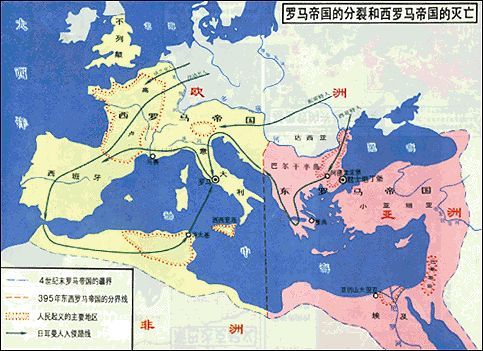 The split of Roma empire and perdition of West Roma empire
