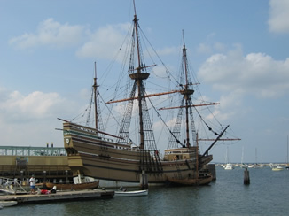"""Plymouth is located in Boston Harbor """"Mayflower,"""" a copy of the yacht."""