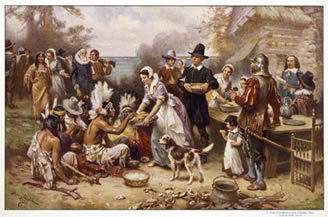 """Pilgrims from the United Kingdom in order to thank the Indians for their support during difficult times and God for their """"gift"""" is the year (1620) the fourth Thursday in November, they made delicious turkey hunting, Indian hospitality .1941, the U.S. Congress officially set at each of its """"Thanksgiving Day"""""""