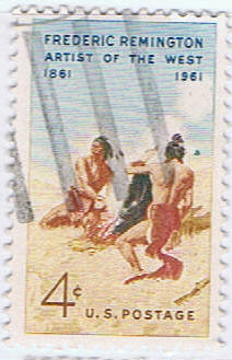 stamp paintings Indian - Cowboys