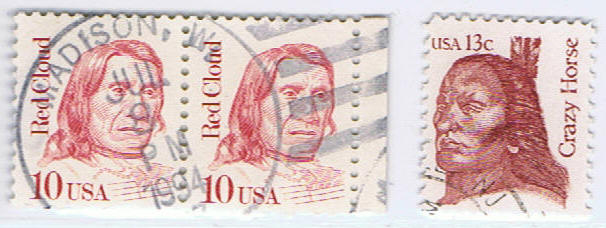 The stamps famous Indian chiefs - Red Cloud - Crazy Horse