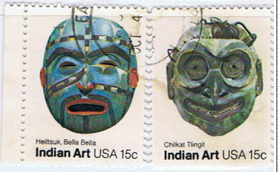 stamps Indian Art masks from various tribes