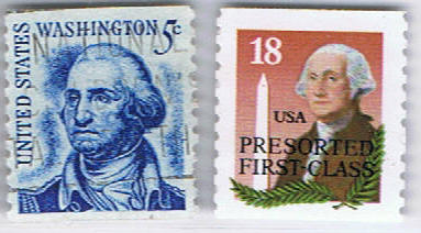 The stamps George Washington - first president of the USA