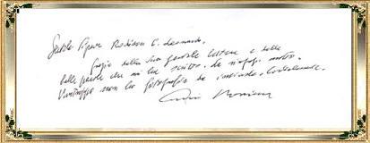 莫里康大师2006年3月为本站菲律宾朋友JING的亲笔签名回复