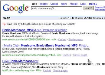 """在GOOGLE或""""百度""""中输入""""morricone"""" 或者""""莫里康"""",在其个上百万个搜索结果中,都可以在前三名中看到本站的身影美国访客搜索ennio morricone mp3 --第三位"""