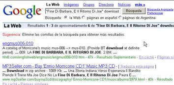 """在GOOGLE或""""百度""""中输入""""morricone"""" 或者""""莫里康"""",在其个上百万个搜索结果中,都可以在前三名中看到本站的身影巴西访客搜索""""Fine Di Barbara, E Il Ritorno Di Joe download""""--第一位"""