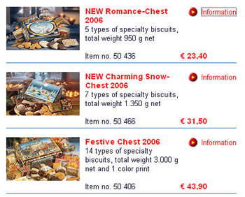German network price (Schmidt shop) of some Lebkuchen cookies (Without mailed fee