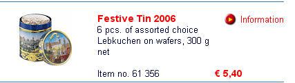 纽伦堡艺术罐装姜蜜饼德国SCHMIDT网上商店同样商品的价格为5.4欧元(不计邮费,见这里)