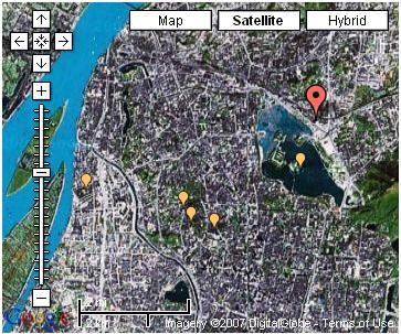 金陵石化大楼在南京的位置,图上显示了南京北半部市区,长江,玄武湖,外秦淮河,紫金山均可见
