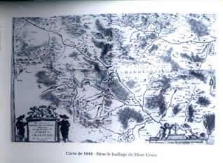 法文: Carte de 1644- Situe le baillage de Mont Cenys-译文: Mont Cenys 1644年的地图