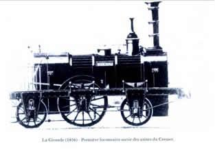 法文: La Gironde (1836) Premiere locomotive sortie des usines du Creusot -译文:克鲁索工厂1836年生产的机车