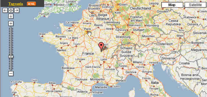 The red mark just is the Le Creusot city. Paris is in its north, Dijun is in its east, the Lyon is in its south.