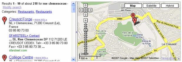 左�认允镜牡谝桓鏊阉鹘峁�是: Creusot Forge (克鲁索锻造)56, r Clemenceau,71200 Creusot(LE), Frence 证实了前面的结论,这里应该就是我要找的工厂的正确位置.它位于克鲁索市北边Verrerie公园东北��,准确地址是Clemenceau路56号.邮编71200