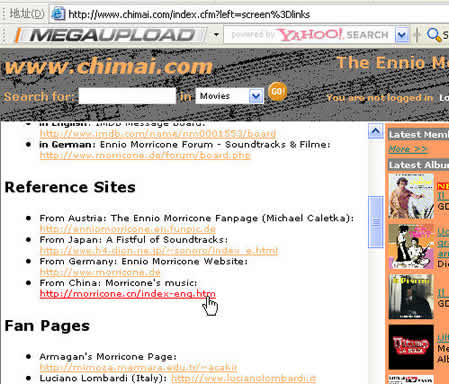 """""""chi mai"""" web site published 4 reference sites of Morricone's works"""