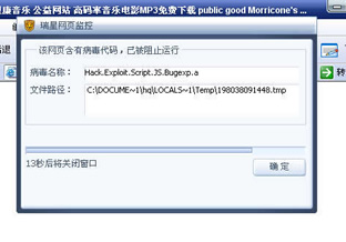 2007.12.23.在打开网站主页时,跳出来病毒提示