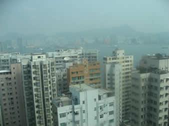 从香港北角丽东轩酒店25层向北面九龙方向望去,维多利亚海湾沿边的高楼十分拥挤,真像一座座水泥森林.不过就是在这里要想有一个安身之地,没有千把万港币恐怕是难以如愿的
