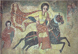 Ethiopian fresco of the Queen of Sheba on her way to Jerusalem, shown riding with sword under her saddle and a lance in her hand