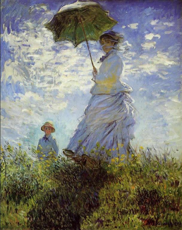 打阳伞的女人  莫奈