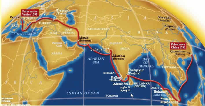 The return route of Marco Polo
