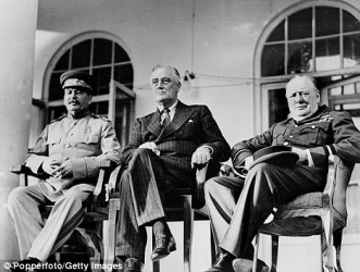 Stalin,Churchill, and Roosevelt at the Tehran conference in 1943.