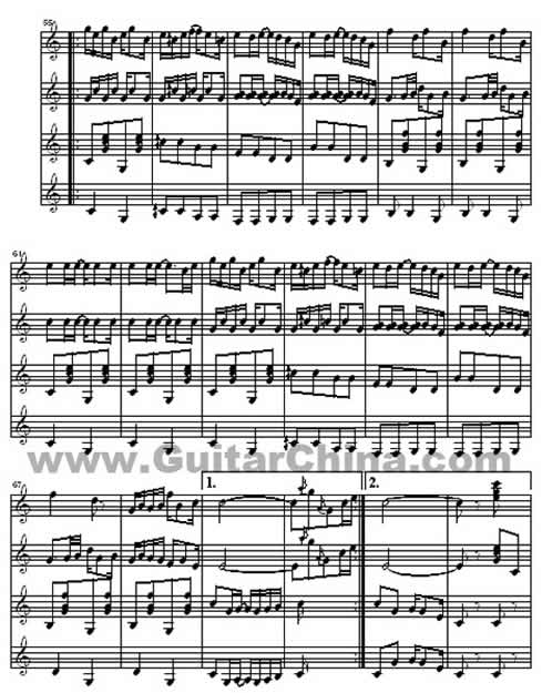 高艺改编的古典吉他四重奏《海上钢琴师》曲谱