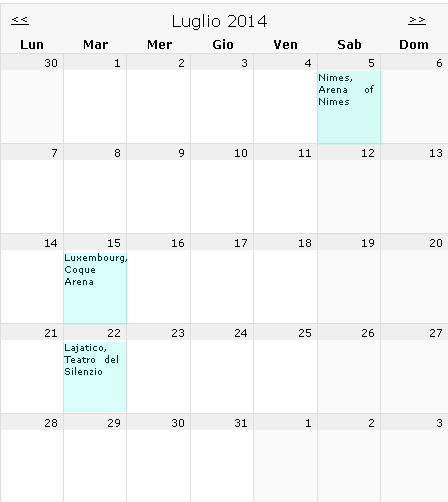 2014年7月音乐会计划