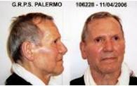 西西里黑帮的柯里昂幽灵 伯纳多 普鲁文扎诺/Bernardo Provenzano 的四张图像 左起2张 青年时期照片和警方模拟画像,右面2张 被捕后照片
