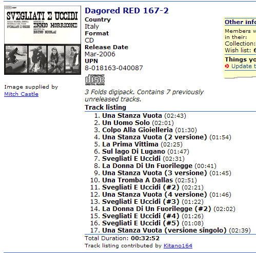 Dagored RED 167-2 Country Italy Format CD Release Date Mar-2006