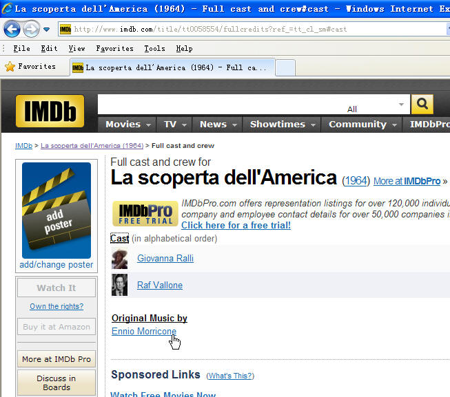 The IMDB web site shows 1964