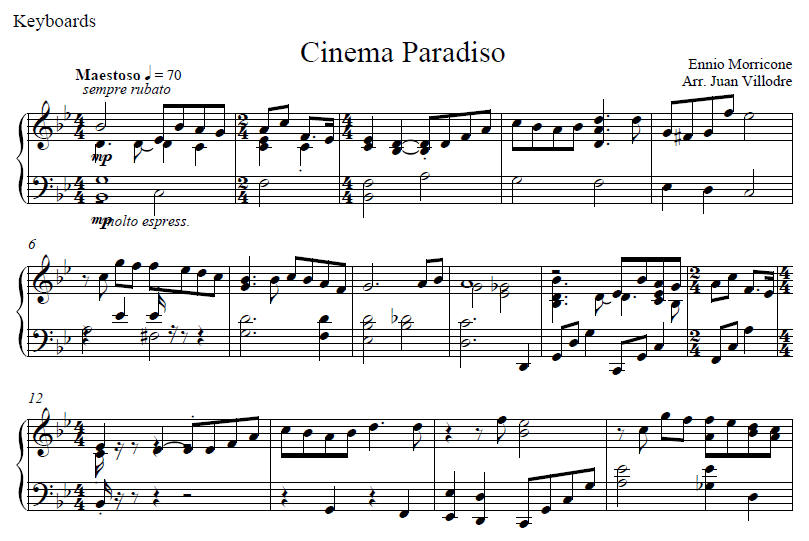 A full score of Cnema Paradiso
