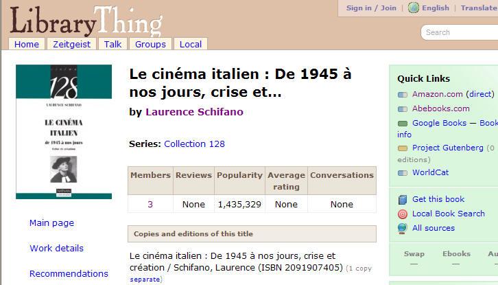 Le cinema italien: De 1945 a nos jours,crise  et...
