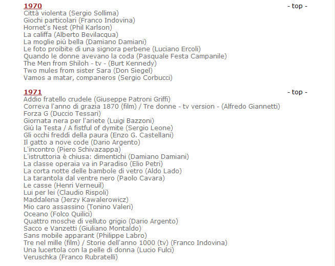 莫里康内官方网站发布的配乐电影年表目录资料截图1970-1971