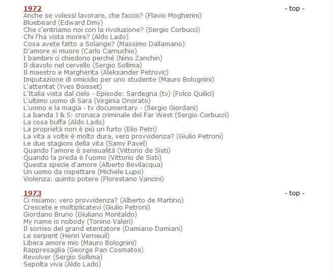 莫里康内官方网站发布的配乐电影年表目录资料截图1972-1973