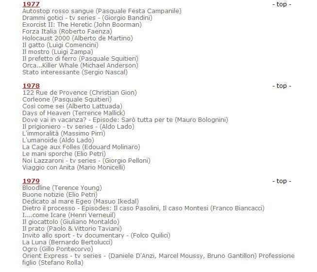 莫里康内官方网站发布的配乐电影年表目录资料截图1977-1979