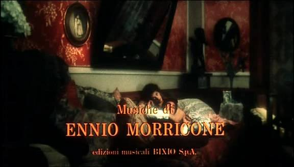 It is shown that the film was composed by Ennio Morricone (00:02:04)