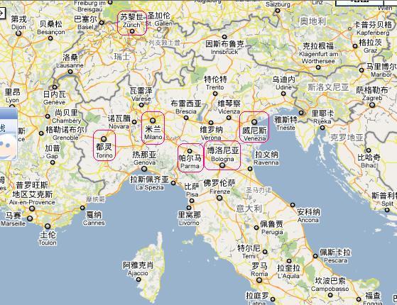 意大利北部主要城市地图