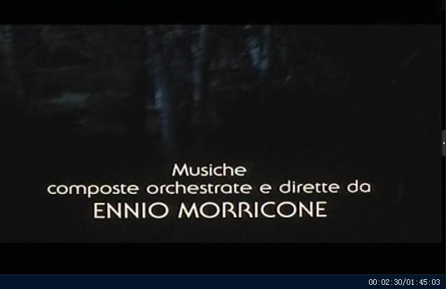 """影片片头显示电影""""幽国车站""""由莫里康内谱曲和指挥 (00:02:30)"""