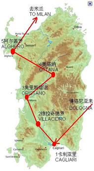 撒丁岛访问路线图