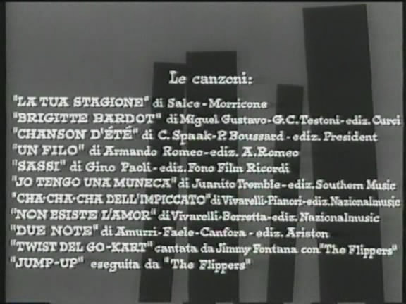 It is shown that the 11 songs in the film (Le Canzoni) (00:01:27)