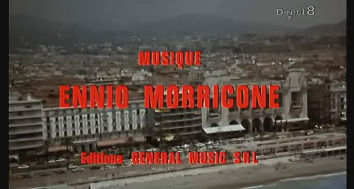 It is shown that the film was composed by Ennio Morricone