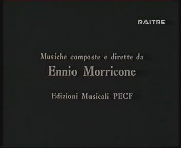 It is shown that the film was composed by Ennio Morricone (00:01:04)
